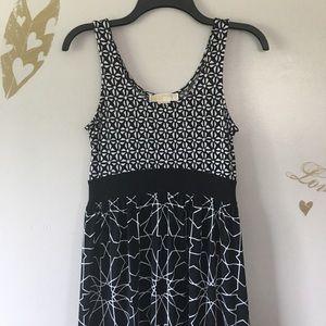 Michael Kors Black & White Geo Print Maxi Dress S
